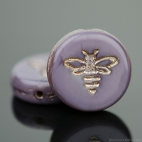 Pressed Coin with Bee (12mm) Purple Silk with Platinum Wash