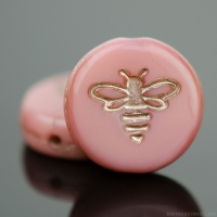 Pressed Coin with Bee (12mm) Pink Silk with Platinum Wash