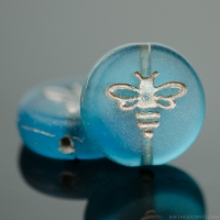 Pressed Coin with Bee (12mm) Aqua Blue Transparent Matte with Platinum Wash