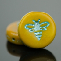 Pressed Coin with Bee (12mm) Mustard Yellow Opaque with Turquoise Wash