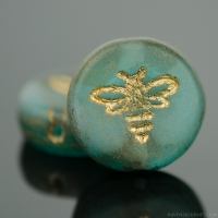 Pressed Coin with Bee (12mm) Aqua Blue Transparent with White Opaque Core Matte with Gold Wash