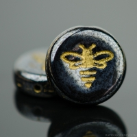 Pressed Coin with Bee (12mm) Hematite Opaque with Gold Wash