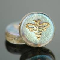 Pressed Coin with Bee (12mm) Crystal Transparent with AB Finish and Gold Wash