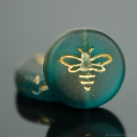 Pressed Coin with Bee (12mm) Capri Blue Transparent Matte with Gold Wash