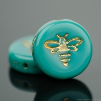 Pressed Coin with Bee (12mm) Turquoise Green Opaque with Gold Wash