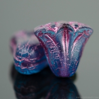 Lily (9x10mm) Sapphire Blue Transparent Matte with Pink Wash