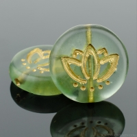 Coin with Lotus Flower (14mm) Tourmaline Green Transparent Matte with Gold Wash (2)