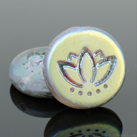 Coin with Lotus Flower (14mm) Aqua Transparent Matte with Gold and Pink Iridescent Half Coat Finish