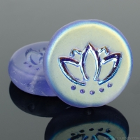 Coin with Lotus Flower (14mm) Tanzanite Purple Transparent Matte with AB Half Coat Finish