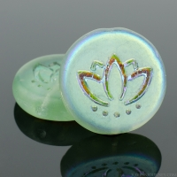 Coin with Lotus Flower (14mm) Tourmaline Green Transparent Matte with AB Half Coat Finish