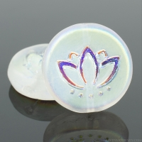 Coin with Lotus Flower (14mm) Crystal Transparent Matte with AB Half Coat Finish