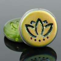 Coin with Lotus Flower (14mm) Olivine Green Transparent Matte with Vitrail Finish (2)