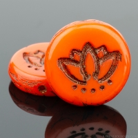 Coin with Lotus Flower (14mm) Orange Opaque with Dark Bronze Wash