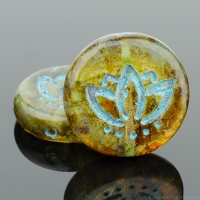 Coin with Lotus Flower (14mm) Amber Transparent with Picasso Finish and Turquoise Wash