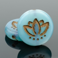 Coin with Lotus Flower (14mm) Aqua Blue Silk with Dark Bronze Wash