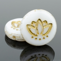Coin with Lotus Flower (14mm) White Silk with Gold Wash