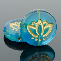 Coin with Lotus Flower (14mm) Deep Aqua Blue Transparent Matte with Gold Wash