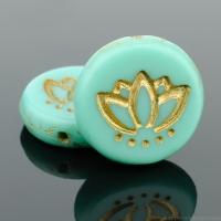 Coin with Lotus Flower (14mm) Turquoise Opaque Matte with Gold Wash (2)