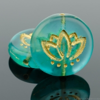 Coin with Lotus Flower (14mm) Aqua Green Transparent Matte with Gold Wash