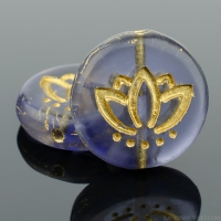 Coin with Lotus Flower (14mm) Tanzanite Purple Transparent Matte with Gold Wash