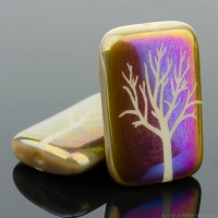 Rectangle (19x12mm) Ivory Opaque with Rainbow Finish and Laser Etched Tree Design