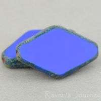 Diamond (20x12mm) Blue Opaque with Picasso