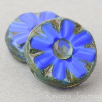 Medium Flower Coin (12mm) Royal Blue Silk with Picasso