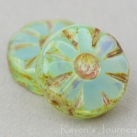 Medium Flower Coin (12mm) Aqua Green Opaline with Picasso