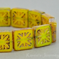 Square with Star (11mm) Yellow Opaline with Picasso