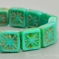 Square with Star (11mm) Turquoise Green Opaque with Picasso