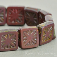 Square with Star (11mm) Maroon Opaque with Picasso