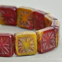 Square with Star (11mm) Red Yellow Mix Opaque Opaline with Picasso