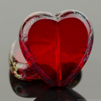 Tablecut Heart (16mm) Red Garnet Transparent with Picasso Finish