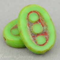 Pea In A Pod Oval (18x12mm) Green Opaque with Picasso
