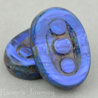 Pea In A Pod Oval (18x12mm) Blue Mix Opaque with Picasso