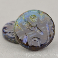 Groovy Coin (20mm) Cobalt Emerald Mix Opaque with Picasso