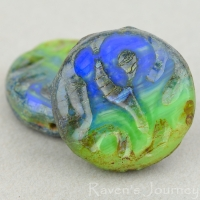 Groovy Coin (20mm)Royal Blue Green Mix Opaque with Picasso