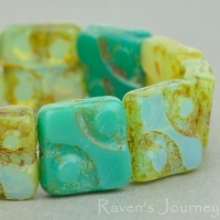 Yin Yang Square (11mm) Mixed Beads Turquoise and Green Opaline Opaque with Picasso