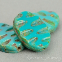 Oval with River (19x9mm) Turquoise Green Opaque with Picasso