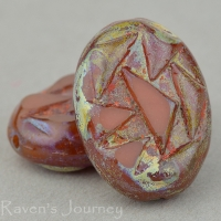 Oval with Triangles (17x12mm) Carnelian Opaline with Picasso