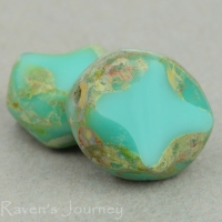 Oval with Cross (10x8mm) Turquoise Opaque with Picasso