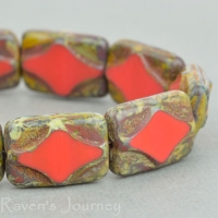 Rectangle with Diamond (12x8mm) Red Opaque with Picasso