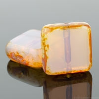 Square (11mm) Vintage Pink Opaline with Picasso