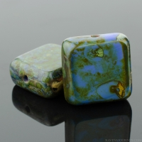Square (11mm) Blue Silk with Picasso