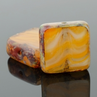 Square (11mm) Mustard White Crystal Mix Opaque Transparent with Picasso