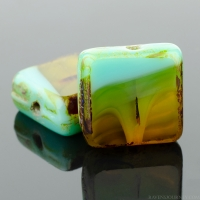 Square (11mm) Green Turquoise Amber Mix Opaque Transparent with Picasso