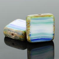 Square (11mm) Cobalt White Green Mix Opaque with Picasso