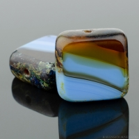 Square (11mm) Blue Denim Amber Purple Mix Opaque Transparent with Picasso
