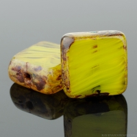 Square (11mm) Gaspeite Crystal Mix Opaque Transparent with Picasso