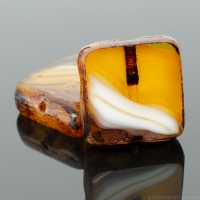 Square (11mm) Amber Purple White Mix Opaque Transparent with Picasso